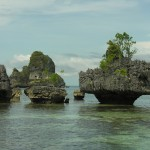 The heavily eroded islands off the cost of Misool