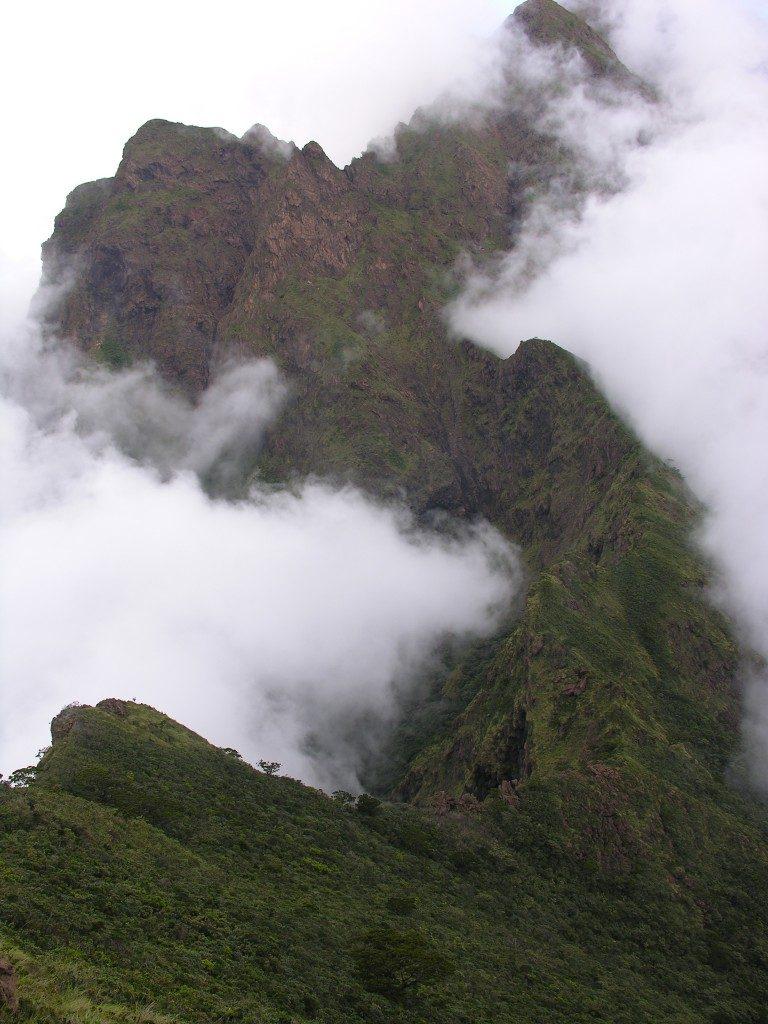 Peilio ašmenų keteros, vedančios į Nepenthes sibuyanensis ir N. argentii buveines Mayo kalne Sibuyan saloje Filipinuose
